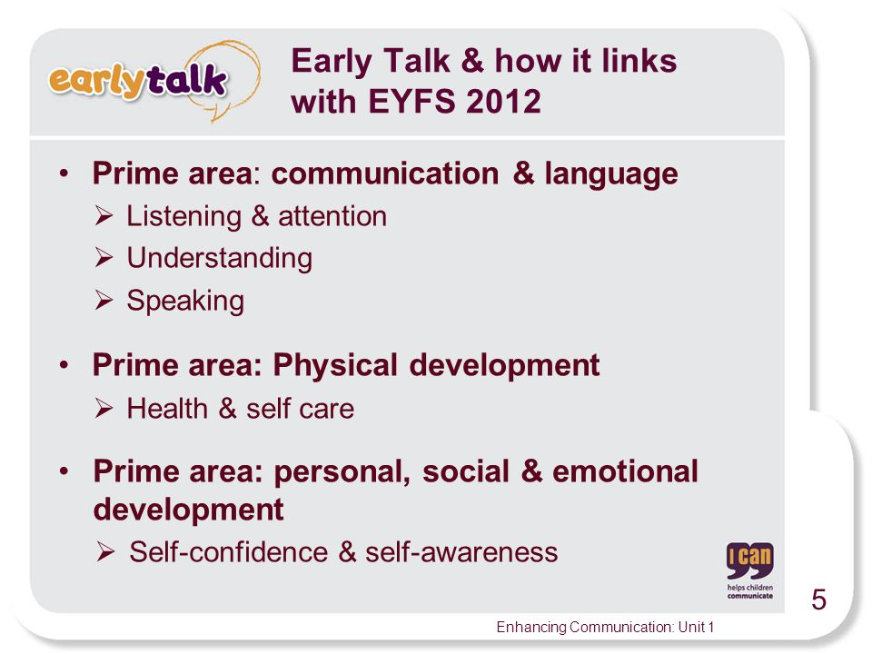 Early Talk & how it links with EYFS 2012