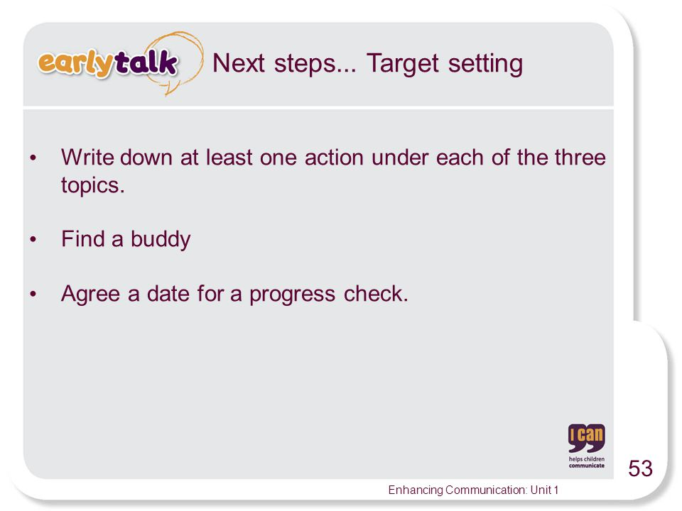 Next steps... Target setting