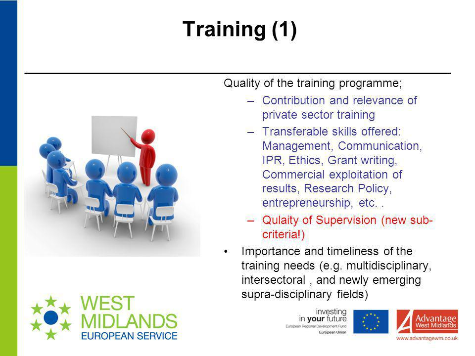 Training (1) Quality of the training programme;