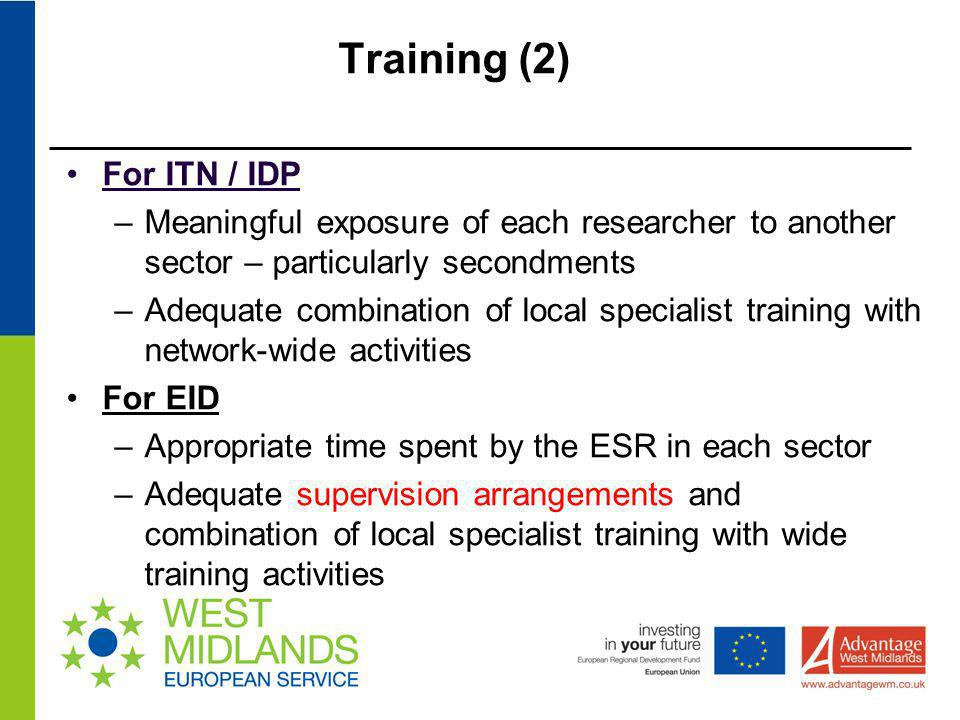 Training (2) For ITN / IDP