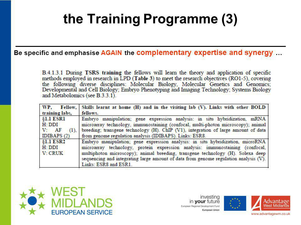 the Training Programme (3)