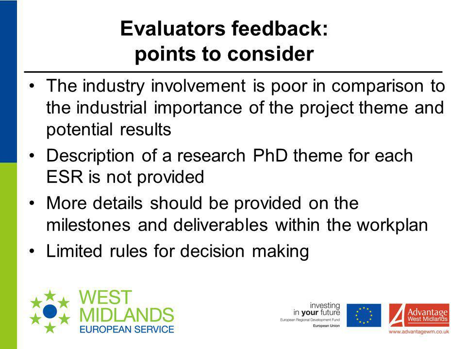 Evaluators feedback: points to consider