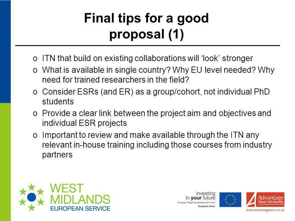 Final tips for a good proposal (1)