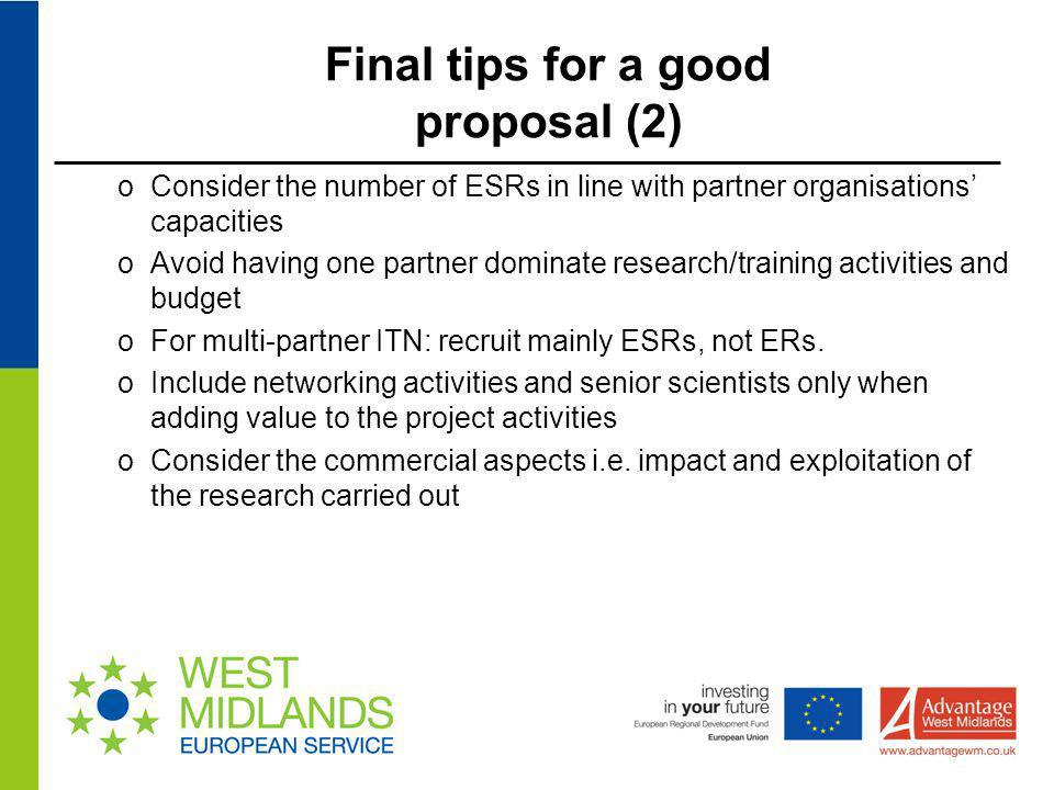 Final tips for a good proposal (2)