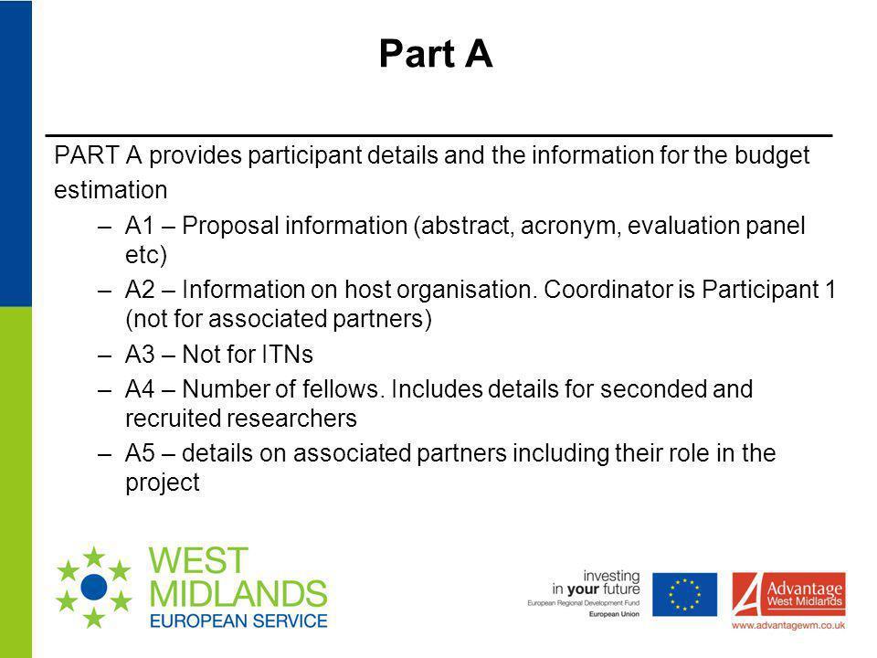 Part A PART A provides participant details and the information for the budget. estimation.