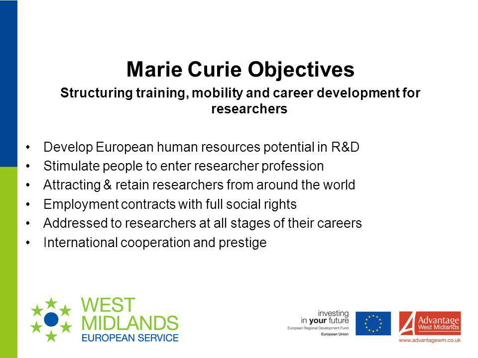 Marie Curie Objectives