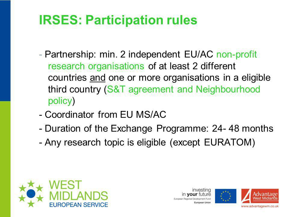 IRSES: Participation rules
