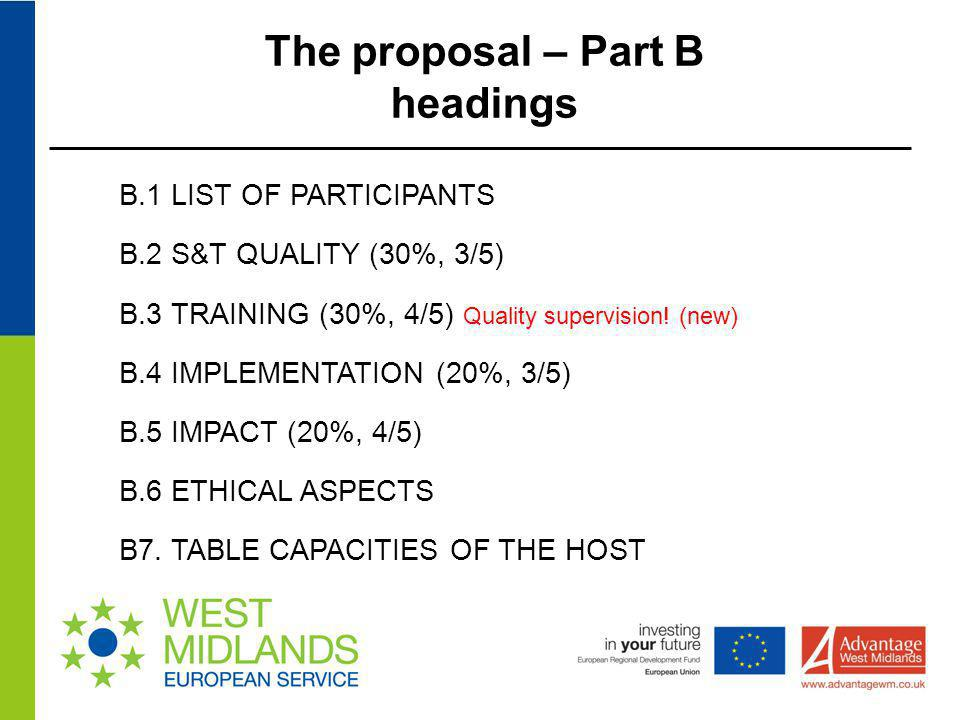 The proposal – Part B headings
