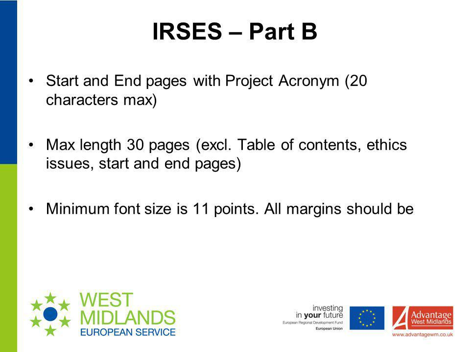 IRSES – Part B Start and End pages with Project Acronym (20 characters max)