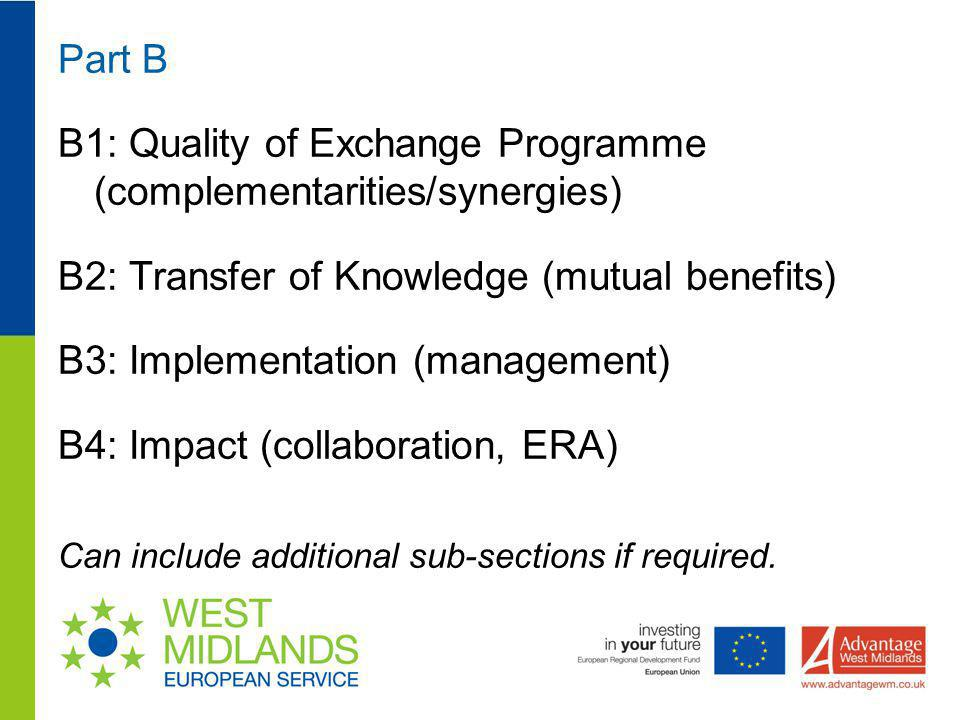 B1: Quality of Exchange Programme (complementarities/synergies)