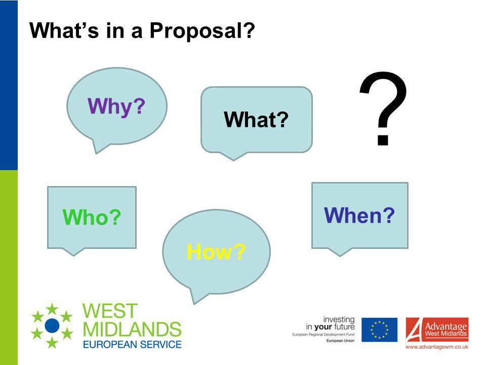 What's in a Proposal Why What When Who How