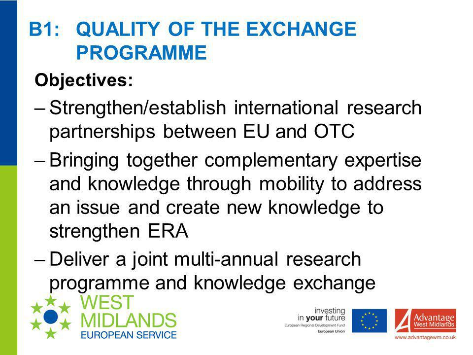 B1: QUALITY OF THE EXCHANGE PROGRAMME