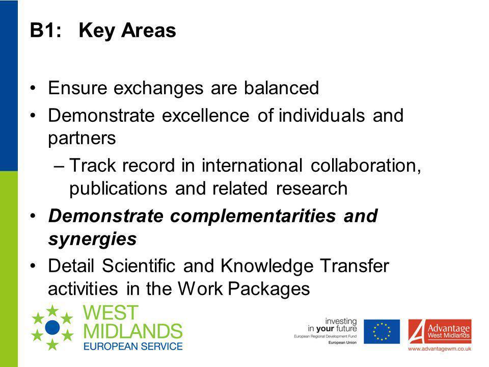 B1: Key Areas Ensure exchanges are balanced