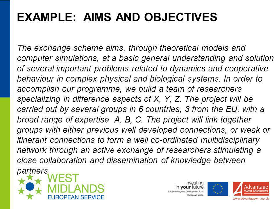 EXAMPLE: AIMS AND OBJECTIVES