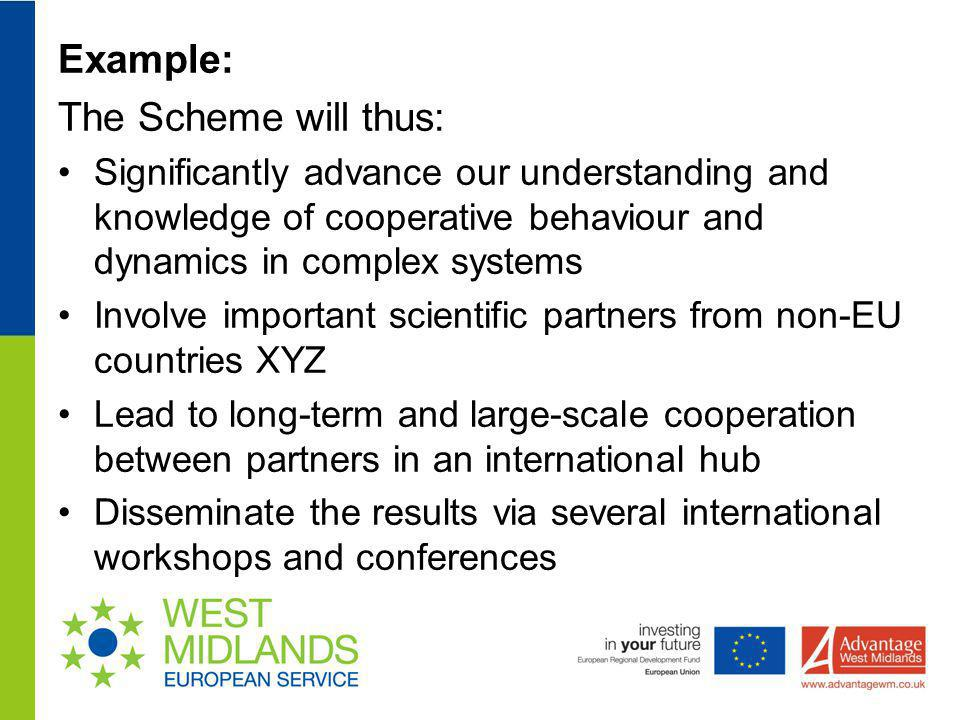 Example: The Scheme will thus: