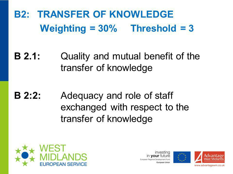 B2: TRANSFER OF KNOWLEDGE Weighting = 30% Threshold = 3 B 2