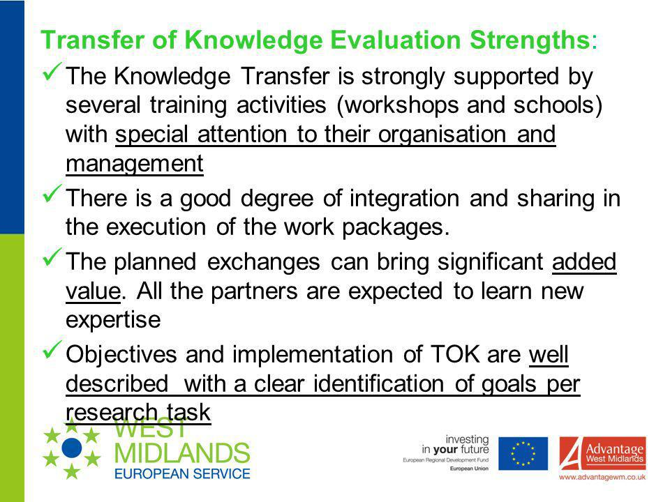 Transfer of Knowledge Evaluation Strengths: