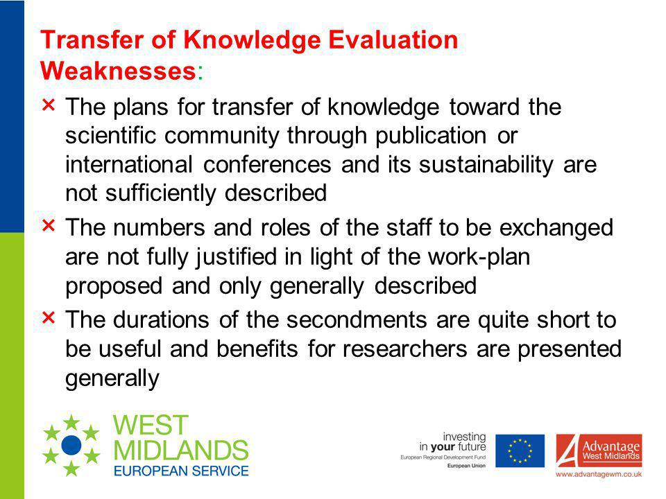 Transfer of Knowledge Evaluation Weaknesses: