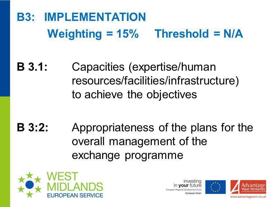 B3: IMPLEMENTATION Weighting = 15% Threshold = N/A B 3