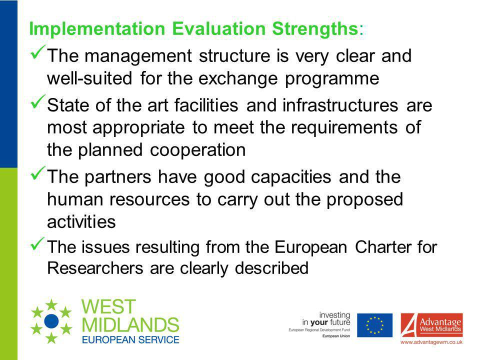 Implementation Evaluation Strengths: