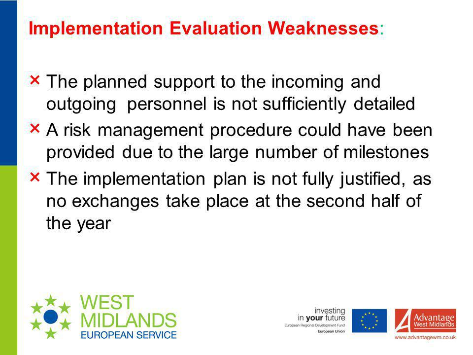 Implementation Evaluation Weaknesses: