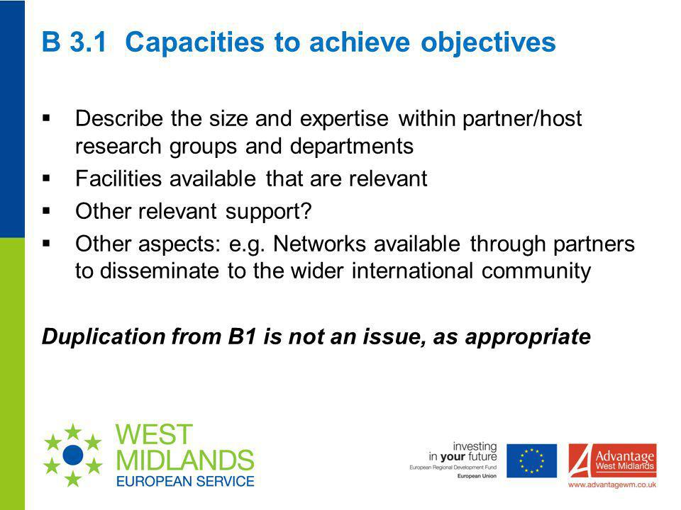 B 3.1 Capacities to achieve objectives