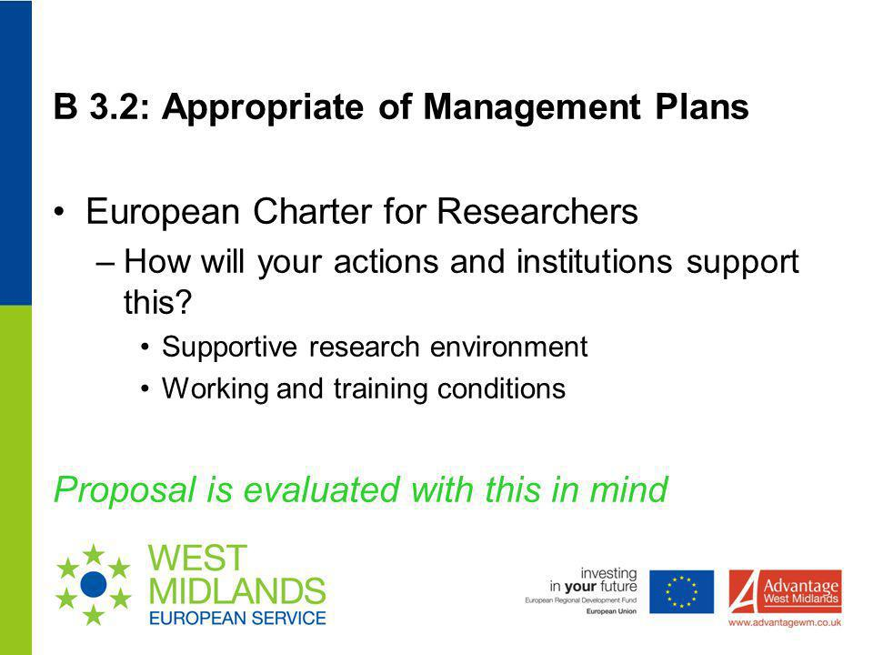 B 3.2: Appropriate of Management Plans