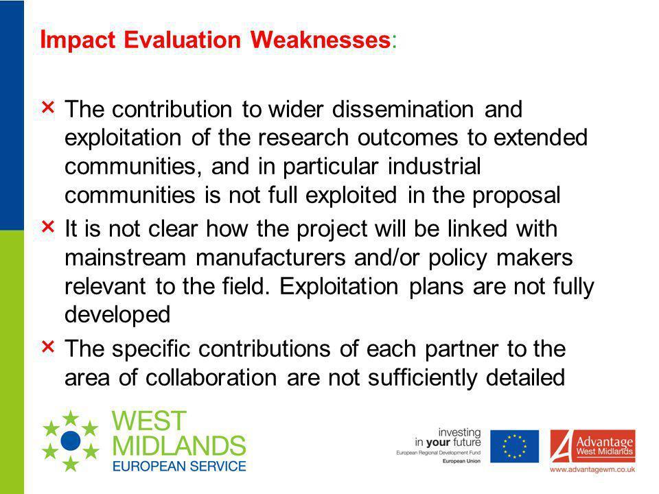 Impact Evaluation Weaknesses: