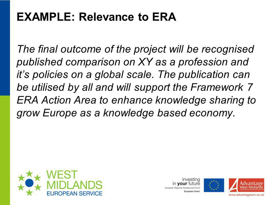 EXAMPLE: Relevance to ERA