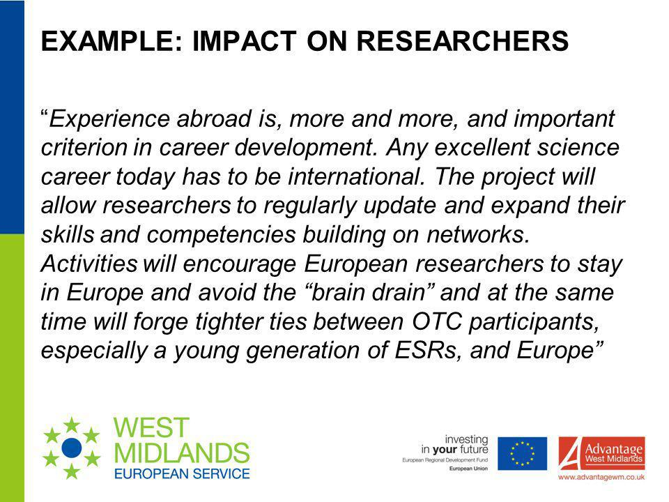 EXAMPLE: IMPACT ON RESEARCHERS