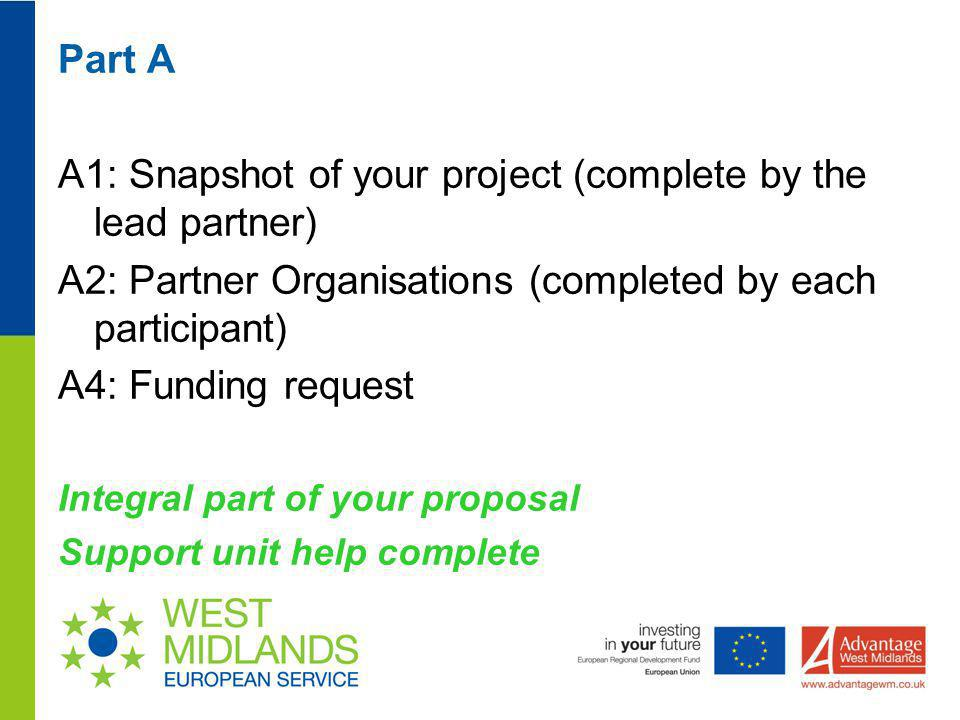 A1: Snapshot of your project (complete by the lead partner)