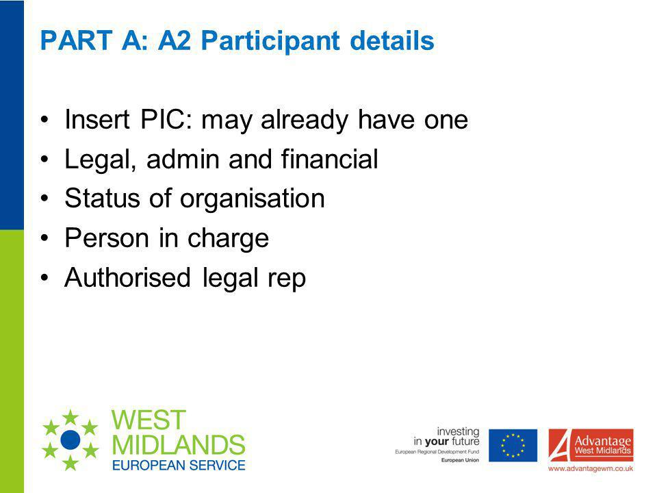 PART A: A2 Participant details Insert PIC: may already have one