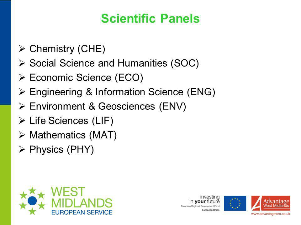 Scientific Panels Chemistry (CHE) Social Science and Humanities (SOC)