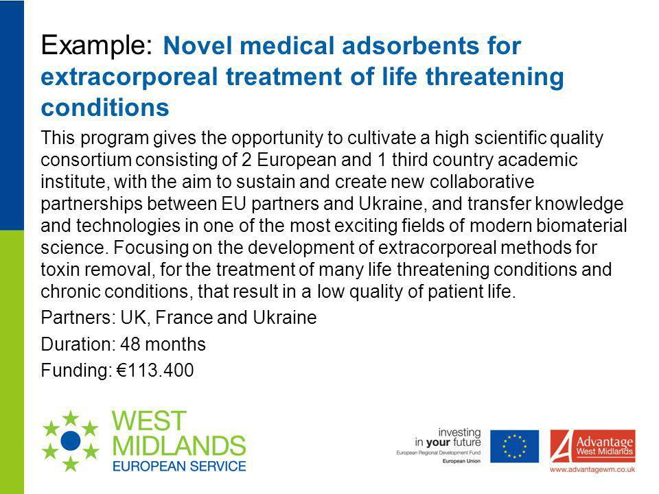 Example: Novel medical adsorbents for extracorporeal treatment of life threatening conditions