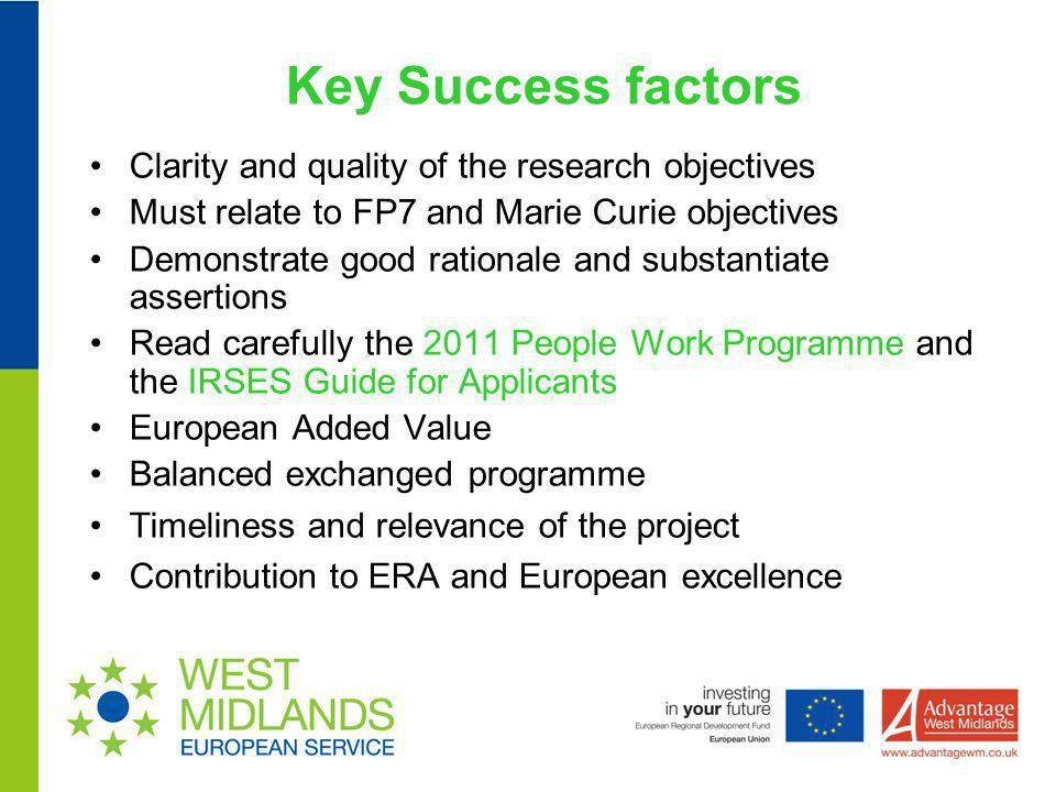 Key Success factors Clarity and quality of the research objectives