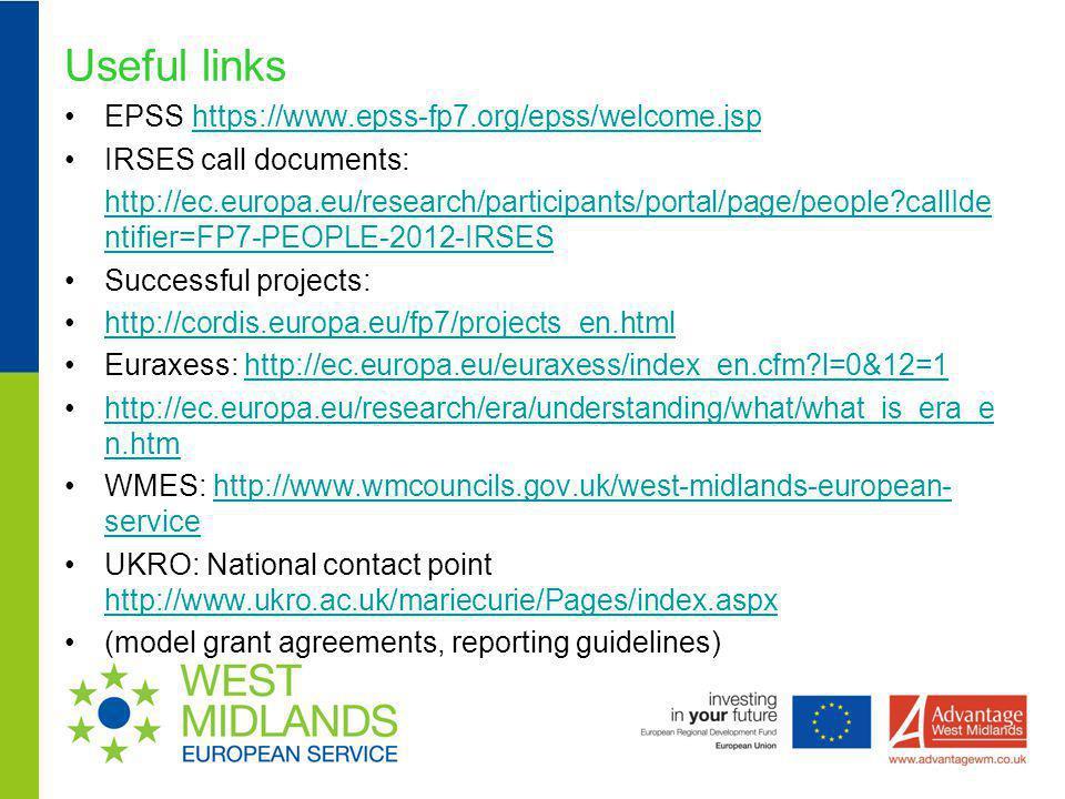 Useful links EPSS https://www.epss-fp7.org/epss/welcome.jsp