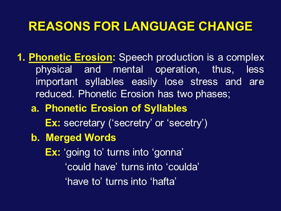 REASONS FOR LANGUAGE CHANGE