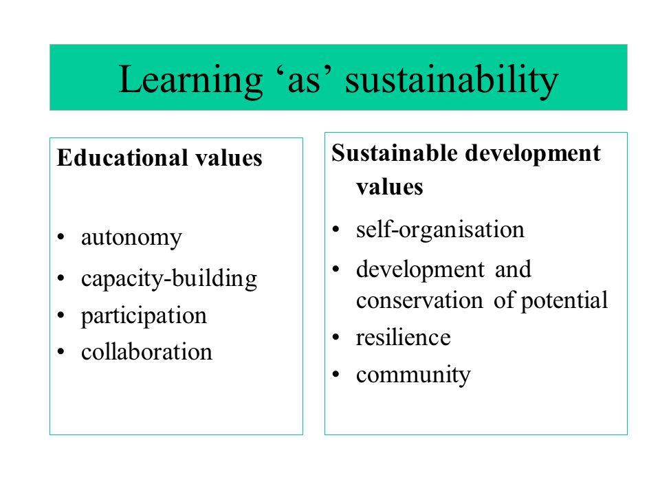Learning 'as' sustainability