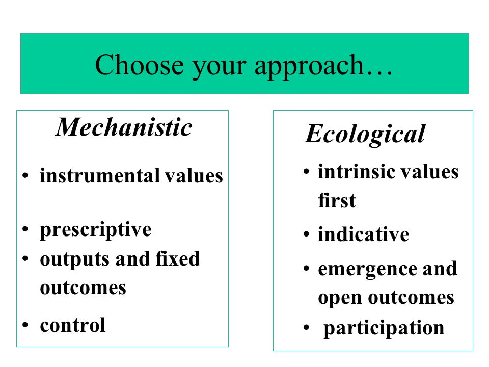 Choose your approach… Mechanistic Ecological instrumental values