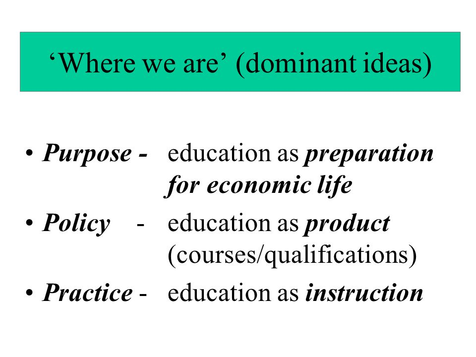 'Where we are' (dominant ideas)