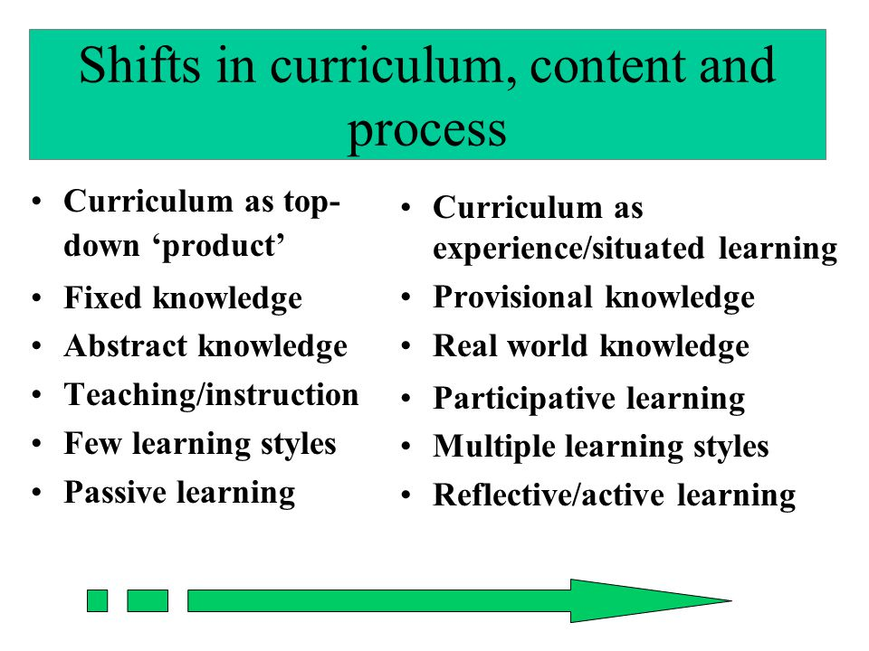 Shifts in curriculum, content and process