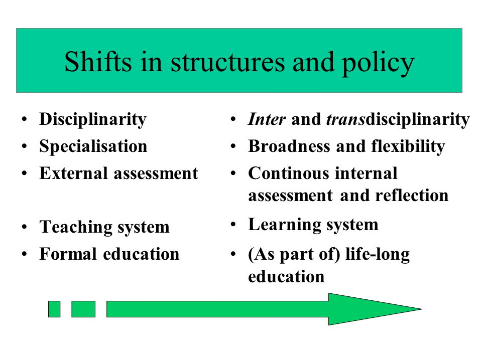 Shifts in structures and policy