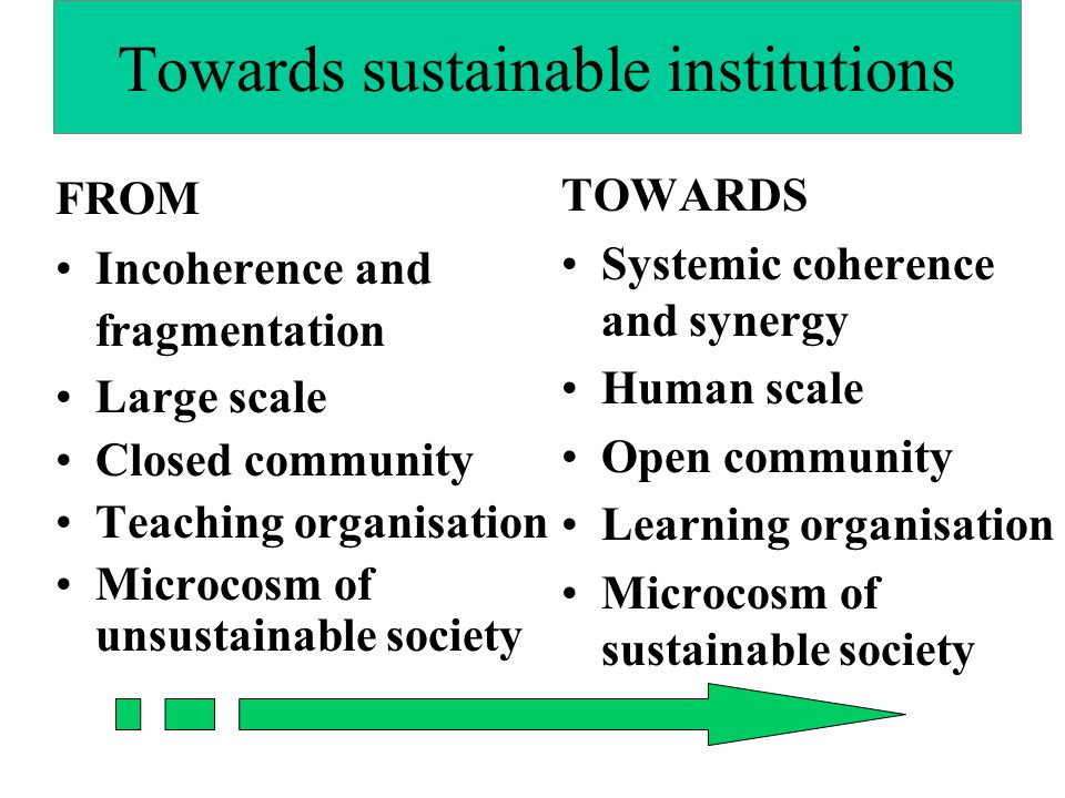 Towards sustainable institutions