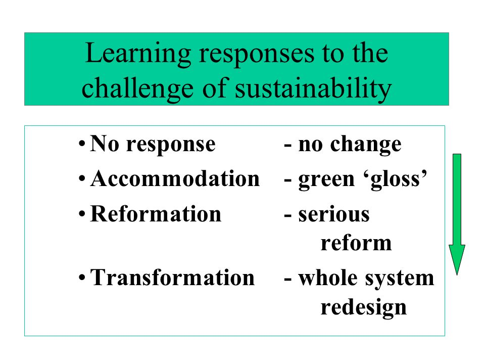 Learning responses to the challenge of sustainability