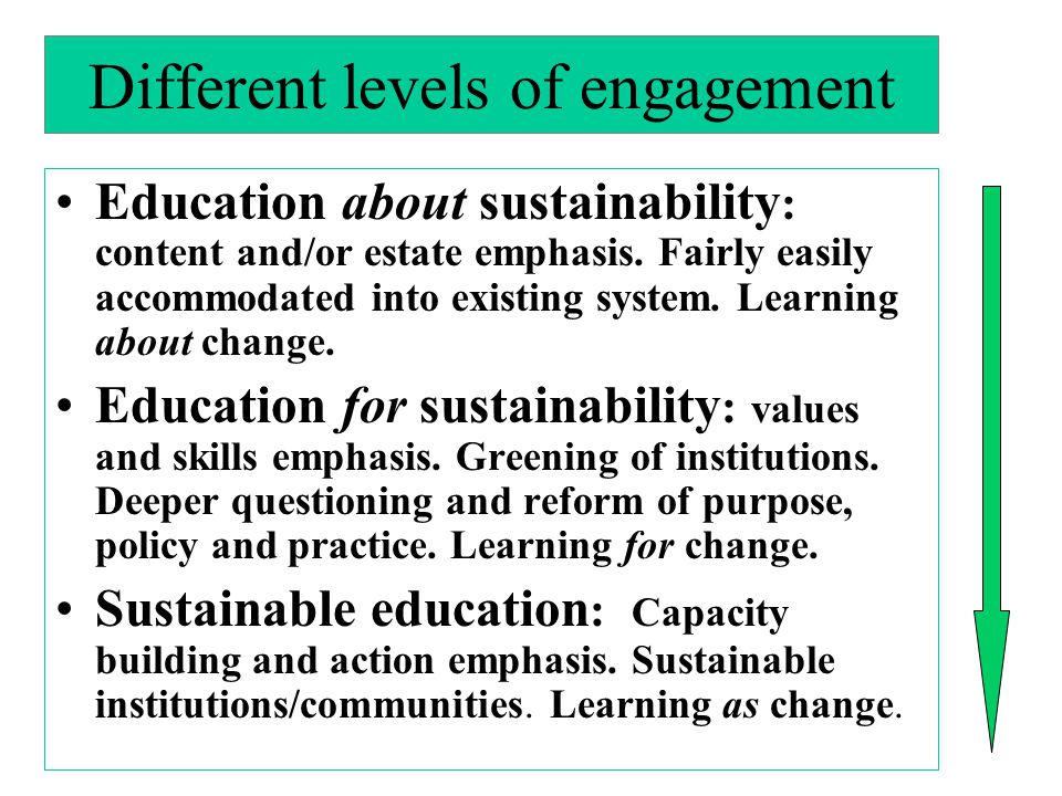 Different levels of engagement