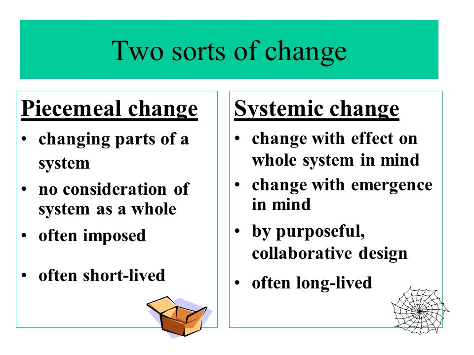 Two sorts of change Piecemeal change Systemic change