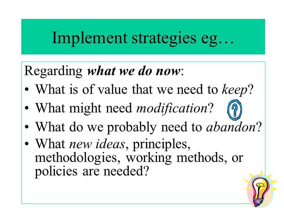 Implement strategies eg…