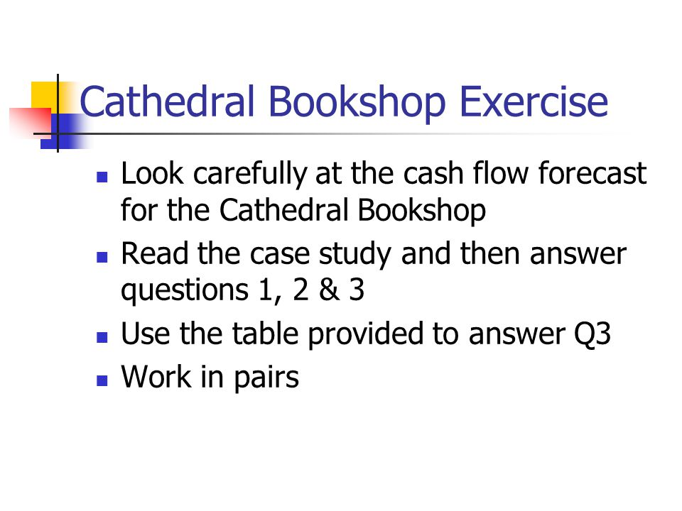 Cathedral Bookshop Exercise