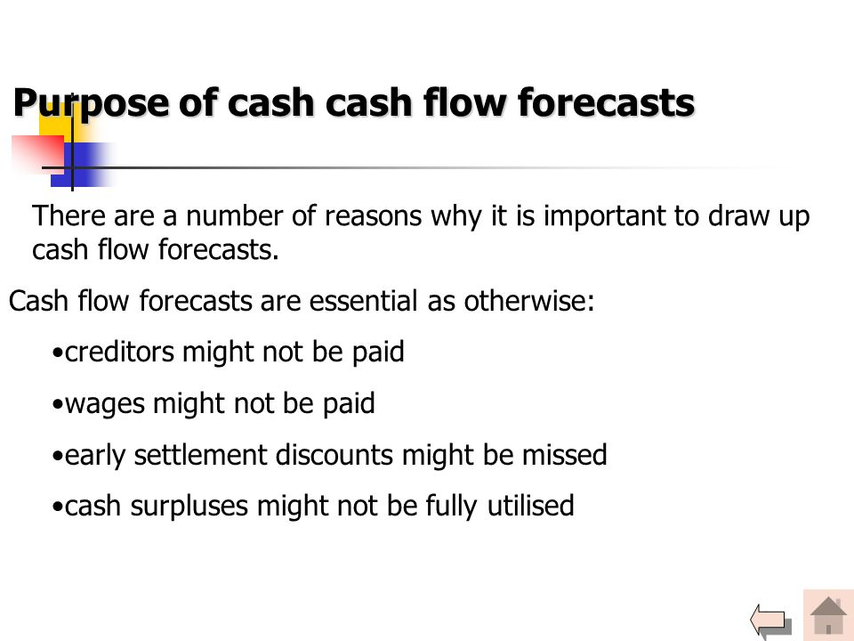 Purpose of cash cash flow forecasts