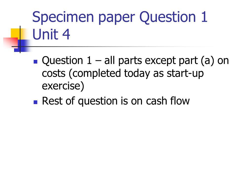 Specimen paper Question 1 Unit 4